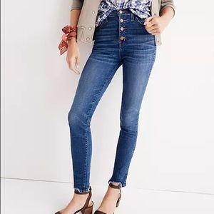 "Madewell 10"" High Rise Chewed Hem Skinny Jeans"